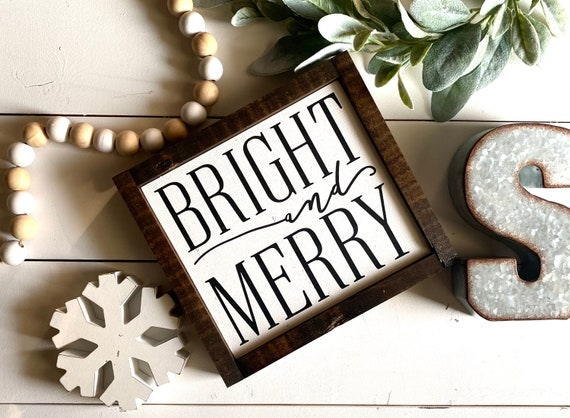 Farmhouse Sign | Christmas Sign | Bright And Merry | Merry And Bright | Farmhouse Christmas | Christmas Decor | Fixer Upper