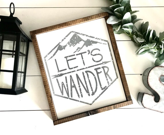 Farmhouse Sign | Let's Wander | Wanderlust | Nursery Sign | Boy's Bedroom Sign | Mountain Sign | Nursery Sign | Fixer Upper | Nursery Decor