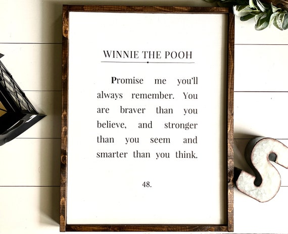 Farmhouse Sign | Winnie The Pooh Sign | You Are Braver Than You Believe | Kid's Bedroom Sign | Winnie The Pooh Sign | Fixer Upper