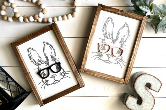Farmhouse Sign | Easter Bunny Sign | 3D Sign | Bunny With Glasses | Rabbit Sign | Spring Sign | Bunny Sign | Easter Sign | Spring Decor