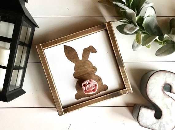 Easter Bunny Sign | Rustic Easter Bunny Sign | Framed Bunny Sign | Easter Bunny with Burlap Tail