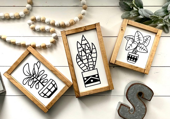 Farmhouse Sign BUNDLE | Plant Sign Set | Plant Signs | Snake Plant | Ficus Plant | Pothos Plant | Set of 3 Signs | Housewarming Gift
