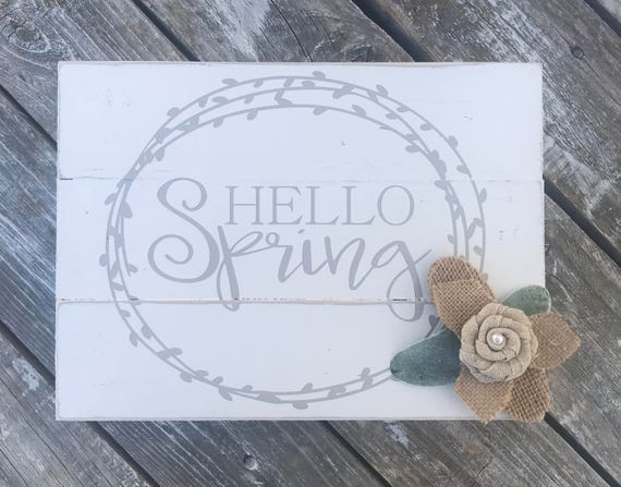 Hello Spring Shiplap Inspired Sign with Floral Accent | Hello Spring Sign | Shiplap Sign | Hello Spring | Spring Decor | Floral Sign