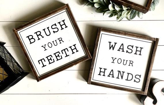 Farmhouse Sign | Farmhouse Bathroom Sign SET | Brush Your Teeth | Wash Your Hands | Bathroom Sign SET | Fixer Upper | Modern Farmhouse