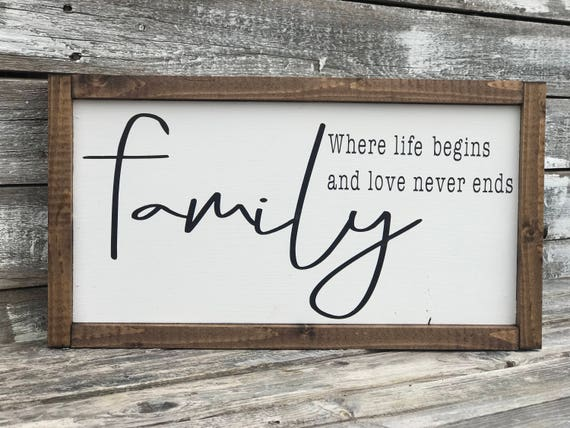 Family Framed Word Sign | Family Sign | Family, Where Life Begins and Love Never Ends | Farmhouse Inspired Sign | Family