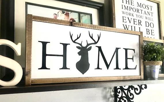 Farmhouse Sign | HOME Sign | Deer Sign | Home Wreath Sign | Fixer Upper | Modern Farmhouse | Home Sign Deer | Home Sign Wreath | Home Sign