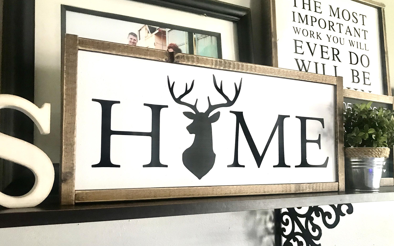 Farmhouse Sign Home Sign Deer Sign Home Wreath Sign Fixer Upper Modern Farmhouse Home Sign Deer Home Sign Wreath Home Sign