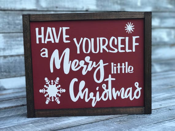 Have Yourself A Merry Little Christmas Framed Wood Sign | Christmas Sign | Christmas Decor | Rustic Word Sign