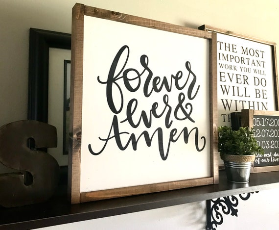 Farmhouse Sign | Forever And Ever Amen | Wedding Gift | Newlywed Gift | Fixer Upper | Modern Farmhouse | Romantic Sign | Master Bedroom Sign