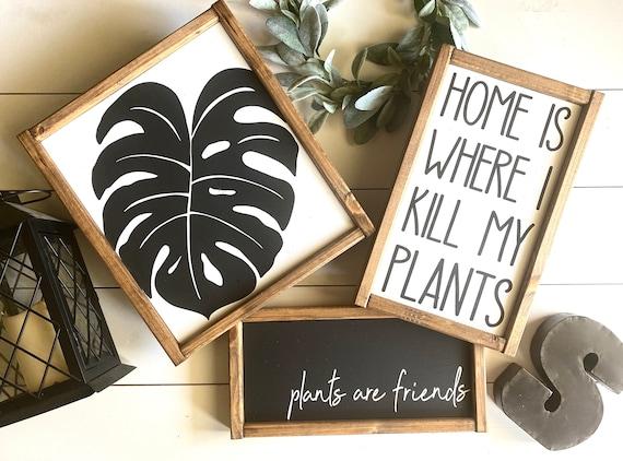 Farmhouse Sign BUNDLE | Plant Sign Set | Plant Sign | Plant Gift Set | Monstera Plant | Set of 3 Signs | Housewarming Gift | Plant Present