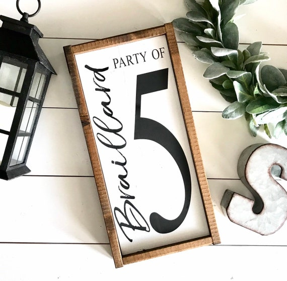 Farmhouse Sign | Personalized Family Number Sign | Party Of Family Sign | Last Name Number Sign | Custom Last Name Sign | Fixer Upper