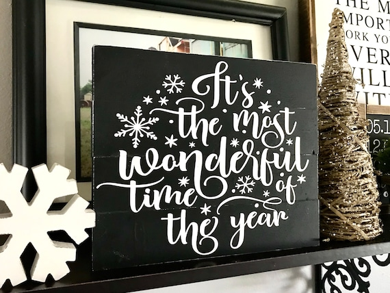 Christmas Sign | It's The Most Wonderful Time Of The Year | Farmhouse Christmas Sign | Christmas Snowflake Sign | Fixer Upper | Popular Sign