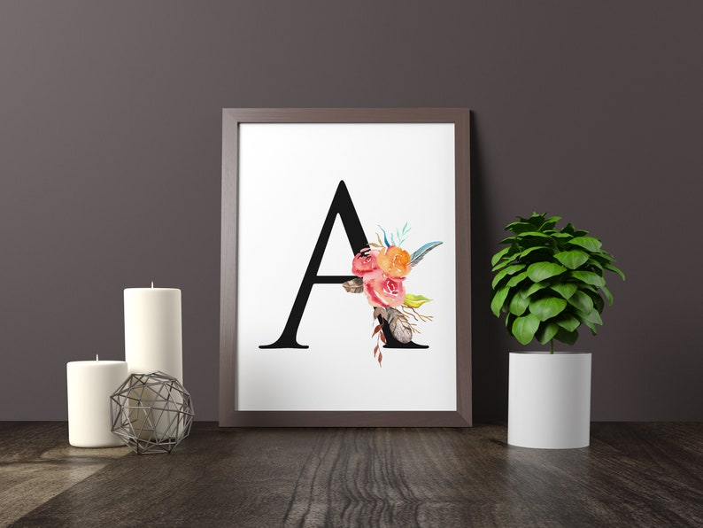 Letters Alphabet Bohemian Feathers 21st Birthday Gift