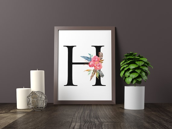 Alphabet Letters Flowers Feathers Kitchen Decor Bedroom
