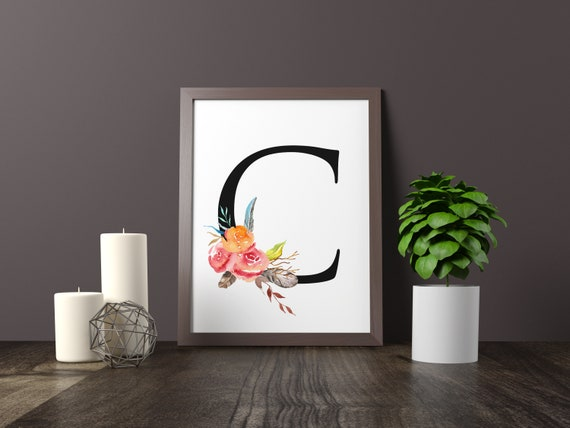 Initial Alphabet Flowers Feathers Sister In Law Gift