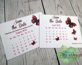 Butterfly Themed Calendar Save the Date Card