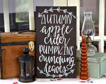 Autumn Favorites Wood Sign   Apple Cider Pumpkins Crunching Leaves   Handwritten wood sign   12x20   Fall Decor   Autumn Decor   Seasonal