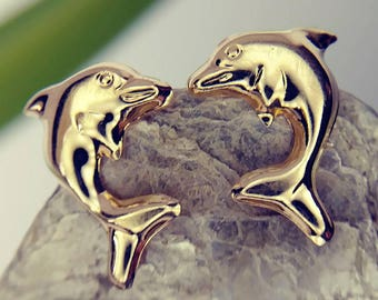 29d25a3ce Little Diving Dolphin Studs Vintage 14k Yellow Gold (#06262)
