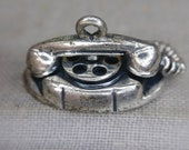 Vintage Movable Rotary Phone Charm Beau Sterling Silver ( 06292)