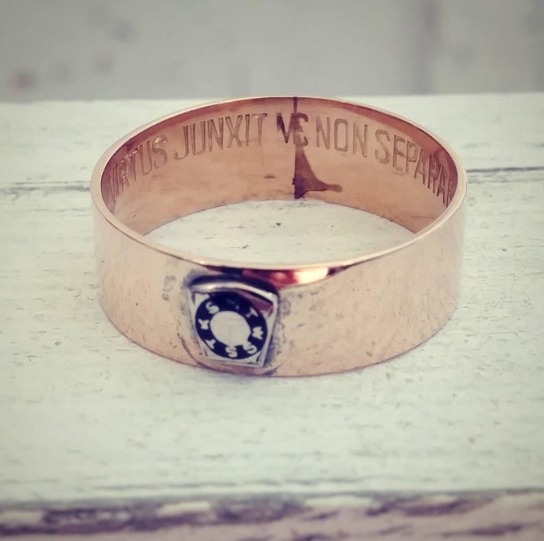 Vintage Masonic Ring 'Virtus Junxit Mors Non Separabit' 10k Yellow Gold  Band Size 9 (#06389)