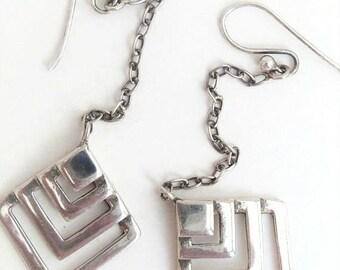 Vintage Sterling Chain Link Drop Earrings
