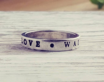 True Love Waits Vintage Purity Ring Sterling Silver Stamped Letters Size 8