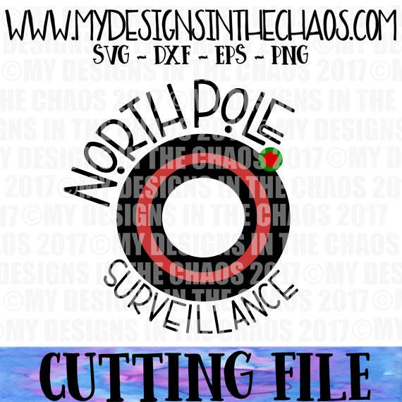 Santa Surveillance SVG cutting file Santa North Pole Ornament Cut file for Silhouette Cameo or Cricut Holiday Ornament Santa Eye