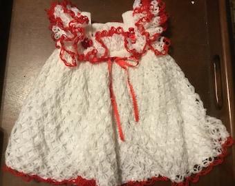 Crocheted baby dress heirloom dress Christmas dress birthday dress keepsake dress special Occassion dress batism dress,