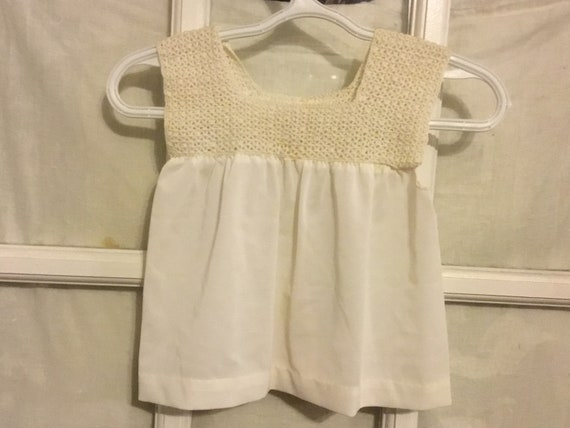 Vintage hand crocheted / hand sewn baby dress. The