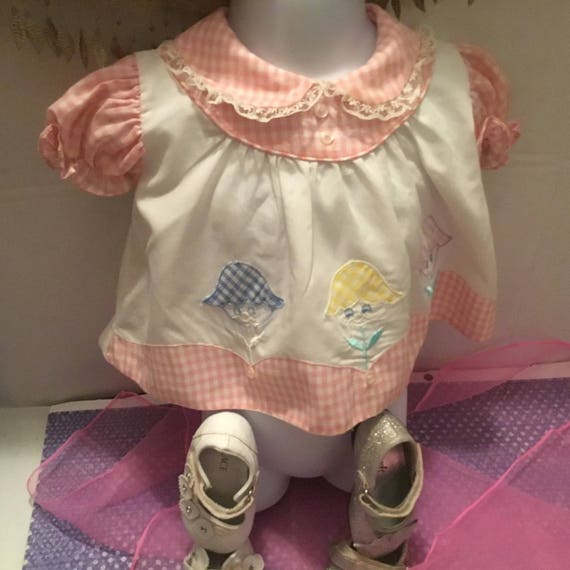 retro 1980s pink and white baby blouse , gingham a