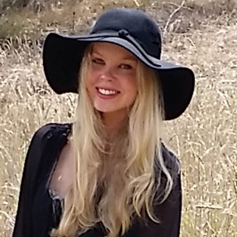 One-Size Inbuilt Adjustable Drawstring,Ladies Derby Hat Black Derby Hat Lyla Women/'s Black Wide-Brim Wool Felt Hat Black Foldable Sun Hat