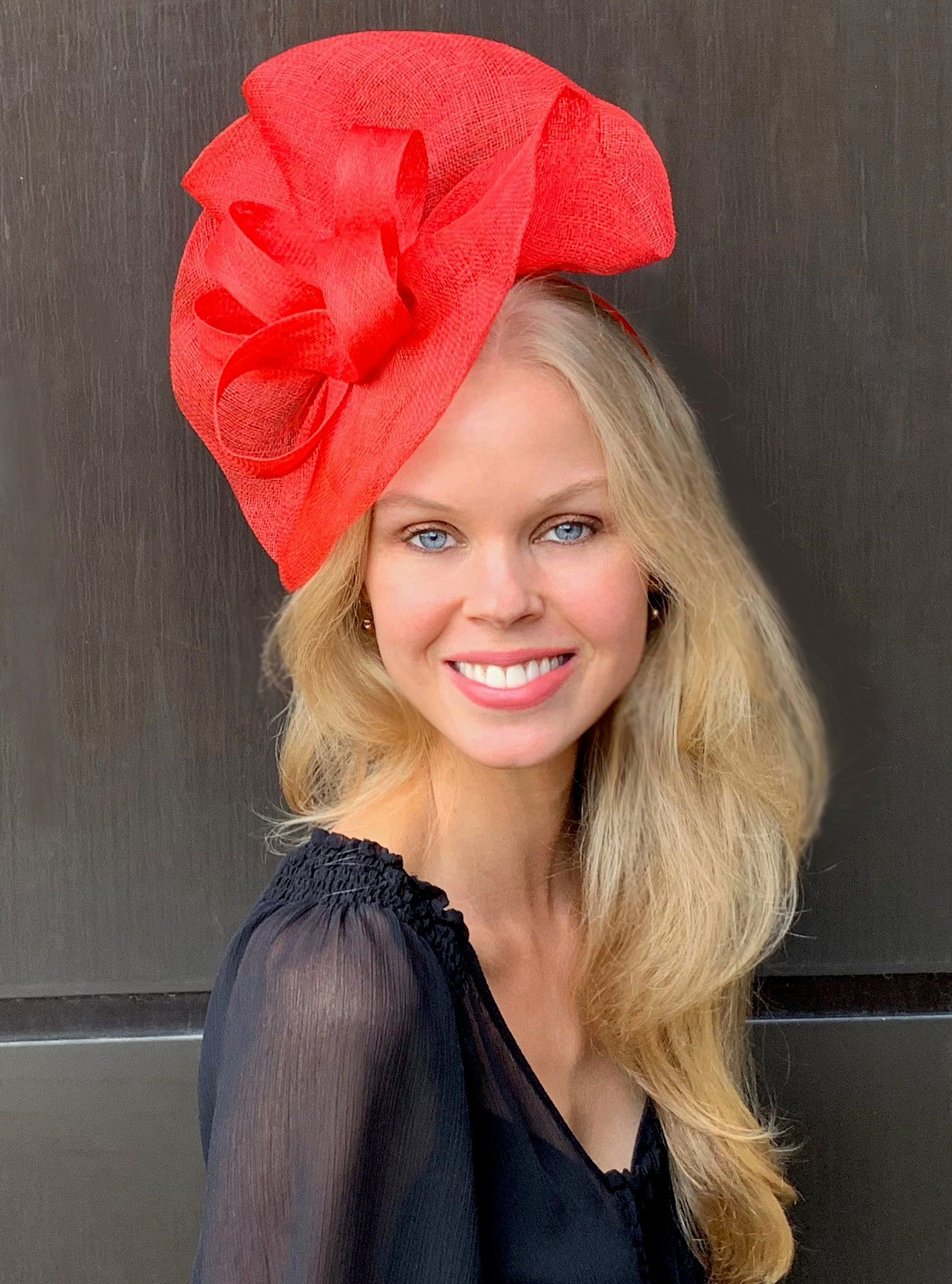 31d69f7897708 Tia Oversized Red Fascinator Kentucky Derby Hat Ladies