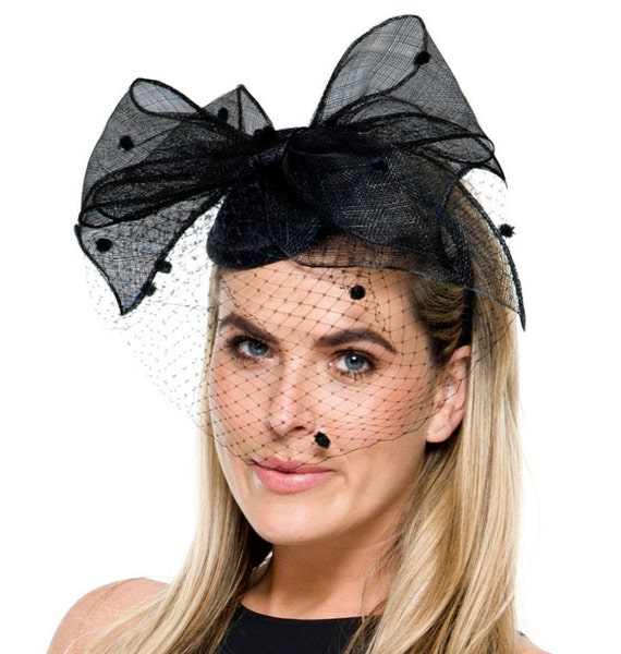 f4e67e77a79 Arielle Black Fascinator with Spotted Netting Kentucky Derby