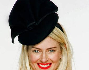Sophia Black Wool Fascinator, Winter Derby Hat, Fancy Wool Hat, British Wedding Hat, Ladies Felt Hat, Wool Church Hat, Racewear, Royal Hats