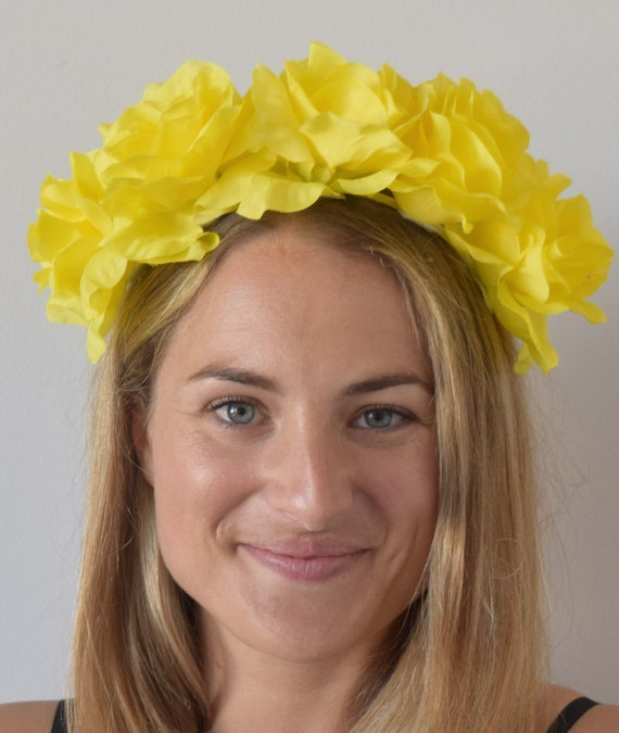 5a543ead62b Isabella Bright Yellow Flower Headband Crown Kentucky Derby
