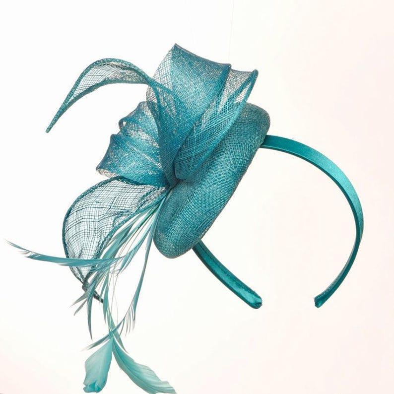 b4093c93fb341 Betsy Turquoise Aqua  Teal Fascinator Kentucky Derby Hat