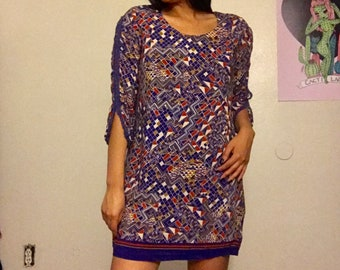 Vintage Retro Purple Print Dress