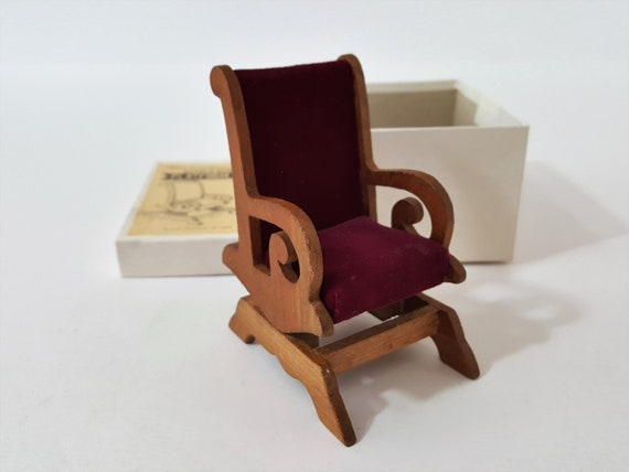 Swell Shackman Dollhouse Furniture Victorian Platform Rocker Cherrywood Rocking Chair With Velvet In Original Box Gmtry Best Dining Table And Chair Ideas Images Gmtryco