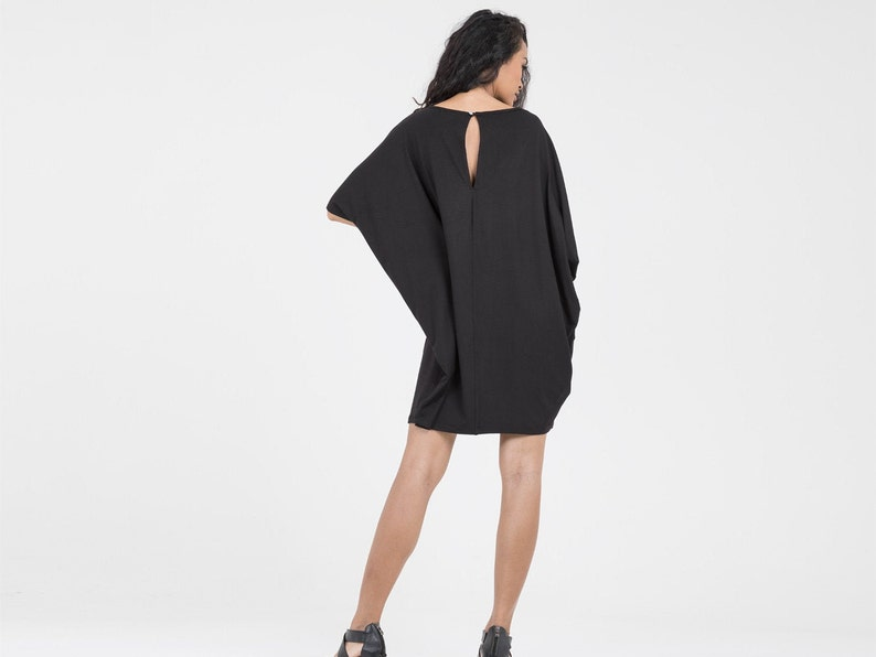 Loose fitting Cocoon Dress in Black Eco Friendly Jersey
