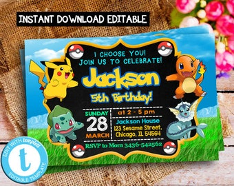 Pokemon Invitation Instant Download