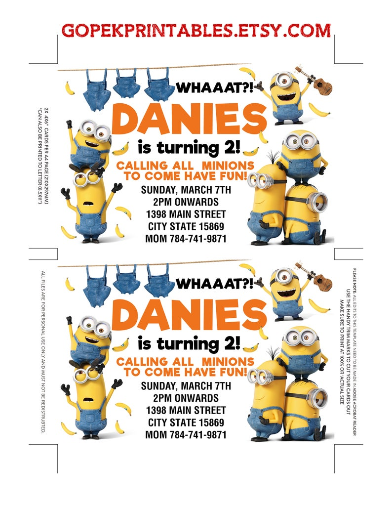 Minion Invitation Digital Minion Birthday Download Minion Etsy