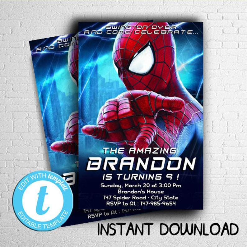 INSTANT DOWNLOAD Spiderman Invitation Instant Download
