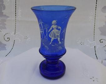 Mary Gregory Vase Cobalt Blue Vintage  #17