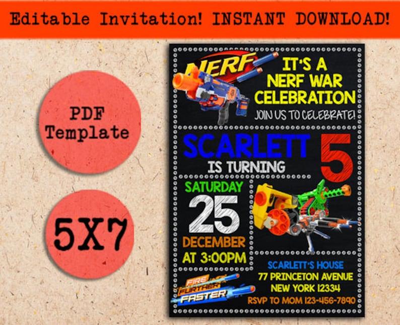 Nerf Invitation Nerf Instant Download Nerf Birthday Nerf Etsy