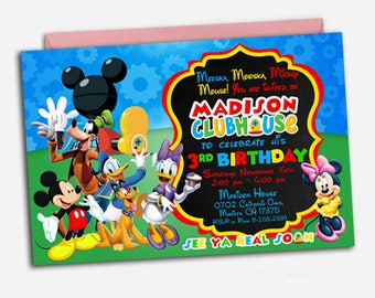 Mickey Mouse Clubhouse Invitation/ Mickey Mouse Clubhouse Birthday/ Mickey Mouse Clubhouse Party/ Mickey Mouse Invitation/ Mickey Mouse Card