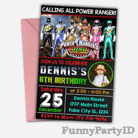 Power Rangers Power Ranger Invitation Power Rangers Etsy