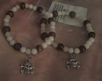 Tiger Eye and white glass skull crossbone stretch bracelet