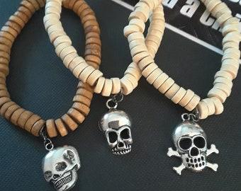 Pirate skull wooden beaded stretch bracelet