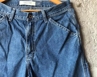 219d680d50239 90s Gap Jeans Vintage jeans 30 Wide leg jeans Carpenter Gap jeans Dark wash  Mom jeans High waisted jeans vintage jeans women 90s Jeans men