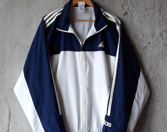 90s adidas windbreaker with three stripes Vintage adidas 90s adidas jacket  men large Adidas jacket vintage Rare Adidas windbreaker men 1f9aff734c